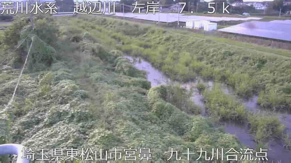 九十九川(水門)と越辺川の合流点付近